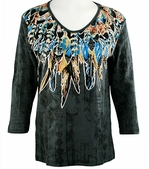 Cactus Bay Apparel Rhinestone Highlighted, 3/4 Sleeve, Crew Neck, Black Colored Stretch Cotton Top - Native Feathers