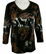Cactus Bay Apparel Rhinestone Highlighted, 3/4 Sleeve, Crew Neck, Black Colored Stretch Cotton Top - Rodeo Horses