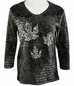 Cactus Bay Apparel Rhinestone Highlighted, 3/4 Sleeve, Crew Neck, Black Colored Stretch Cotton Top - Silver Leaves