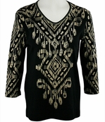Cactus Bay Apparel Rhinestone Highlighted, 3/4 Sleeve, Crew Neck, Black Colored Stretch Cotton Top - SW Block Print