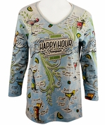 Cactus Bay Apparel Rhinestone Highlighted, 3/4 Sleeve, Crew Neck, Blue Colored Stretch Cotton Top - Happy Hour Forever
