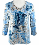 Cactus Bay Apparel Rhinestone Highlighted, 3/4 Sleeve, Crew Neck, Blue Colored Stretch Cotton Top - Humpback Whale