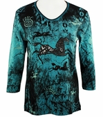 Cactus Bay Apparel Rhinestone Highlighted, 3/4 Sleeve, Crew Neck, Blue Colored Stretch Cotton Top - Painted Ponies