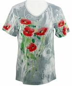 Cactus Bay Apparel Rhinestone Highlighted, 3/4 Sleeve, Crew Neck, Blue Colored Stretch Cotton Top - Poppy Fields
