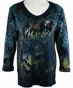 Cactus Bay Apparel Rhinestone Highlighted, 3/4 Sleeve, Crew Neck, Blue Colored Stretch Cotton Top - Stampede