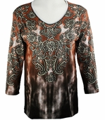 Cactus Bay Apparel Rhinestone Highlighted, 3/4 Sleeve, Crew Neck, Brown Colored Stretch Cotton Top - Alice