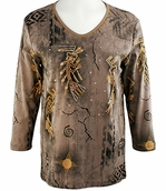 Cactus Bay Apparel Rhinestone Highlighted, 3/4 Sleeve, Crew Neck, Brown Colored Stretch Cotton Top - Sand Dancers