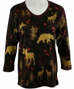 Cactus Bay Apparel Rhinestone Highlighted, 3/4 Sleeve, Crew Neck, Brown Colored Stretch Cotton Top - Wildlife