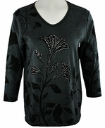 Cactus Bay Apparel Rhinestone Highlighted, 3/4 Sleeve, Crew Neck, Grey Colored Stretch Cotton Top - Grey Flower