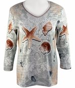 Cactus Bay Apparel Rhinestone Highlighted, 3/4 Sleeve, Crew Neck, Ivory Colored Stretch Cotton Top - Shell Collage