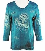 Cactus Bay Apparel Rhinestone Highlighted, 3/4 Sleeve, Crew Neck, Multi Colored Stretch Cotton Top - Ancient Warrior