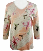 Cactus Bay Apparel Rhinestone Highlighted, 3/4 Sleeve, Crew Neck, Multi Colored Stretch Cotton Top - Hummer Floral