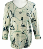 Cactus Bay Apparel Rhinestone Highlighted, 3/4 Sleeve, Crew Neck, Multi Colored Stretch Cotton Top - Northwest Lighthouses