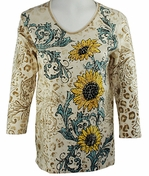 Cactus Bay Apparel Rhinestone Highlighted, 3/4 Sleeve, Crew Neck, Multi Colored Stretch Cotton Top - Sunflower