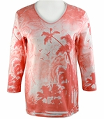 Cactus Bay Apparel Rhinestone Highlighted, 3/4 Sleeve, Crew Neck, Multi Colored Stretch Cotton Top - Sunset Palms