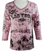 Cactus Bay Apparel Rhinestone Highlighted, 3/4 Sleeve, Crew Neck, Pink Colored Stretch Cotton Top - Las Vegas Skyline