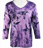 Cactus Bay Apparel Rhinestone Highlighted, 3/4 Sleeve, Crew Neck, Purple Colored Stretch Cotton Top - Purple Hummer