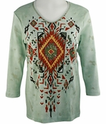 Cactus Bay Apparel Rhinestone Highlighted, 3/4 Sleeve, Crew Neck, Sage Colored Stretch Cotton Top - Navajo Diamond