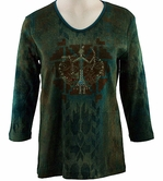 Cactus Bay Apparel Rhinestone Highlighted, 3/4 Sleeve, Crew Neck, Teal Colored Stretch Cotton Top - Sand Painting