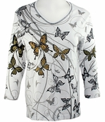Cactus Bay Apparel Rhinestone Highlighted, 3/4 Sleeve, Crew Neck, White Colored Stretch Cotton Top - Butterfly Migration