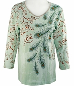 Cactus Bay Apparel Rhinestone Highlighted, 3/4 Sleeve, Crew Neck, Sage Colored Stretch Cotton Top - Feather Pattern
