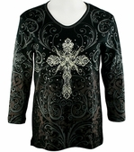 Cactus Bay Apparel Rhinestone Highlighted, 3/4 Sleeve, Crew Neck, Black Colored Stretch Cotton Top - Filigree Cross