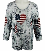 Cactus Bay Apparel Rhinestone Highlighted, 3/4 Sleeve, Crew Neck, White Colored Stretch Cotton Top - Patchwork USA