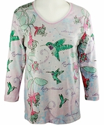 Cactus Bay Apparel Rhinestone Highlighted, 3/4 Sleeve, Crew Neck, White Stretch Cotton Top - Watercolor Hummingbird