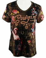 Cactus Bay Apparel Rhinestone Highlighted, Short Sleeve, Crew Neck, Brown Colored Stretch Cotton Top - Rose Cowgirl