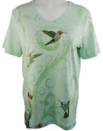 Cactus Bay Apparel Rhinestone Highlighted, Short Sleeve, Crew Neck, Sage Green Colored Stretch Cotton Top - Hummer Trio