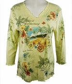 Cactus Fashion 3/4 Sleeve, Rhinestone Studded, Artfully Printed Cotton, Yellow Colored Woman's Top - Tropical Wonderland