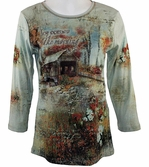 Cactus Fashion, 3/4 Sleeve, Rhinestone Studded, Artfully Printed Cotton Pale Sage Colored Womens Top - Joy Comes in the Morning
