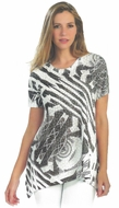 Cactus Fashion -Abstract Stripes, Short Sleeve, Sublimation Print Rhinestone Top