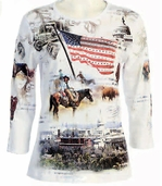 Cactus Fashion America 8 White Blouse Top Cotton 3/4 Sleeves w/ Flag & Cityscape
