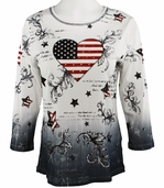 Cactus Fashion - America & Heart, 3/4 Sleeve, Rhinestone Studded, Artfully Printed Womens Bleach Cotton Top