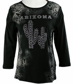 Cactus Fashion - Arizona, 3/4 Sleeve Scoop Neck, Printed Cotton Rhinestone Top