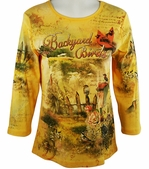 Cactus Fashion - Backyard Birds, Rhinestone Studded, Artfully Printed Womens Gold Colored Cotton Top