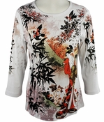 Cactus Fashion - Bamboo & Woman, 3/4 Sleeve, Rhinestone Studded, Scoop Neck Printed Cotton White Colored Womens Top