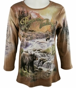 Cactus Fashion - Bears Valley, 3/4 Sleeves, Rhinestone Studded, Artfully Printed Walnut Colored Womens Cotton Top