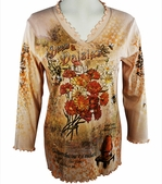 Cactus Fashion - Bees & Daises, 3/4 Sleeve, Rhinestone Studded, Artfully Printed Cotton Khaki Colored Womens Top