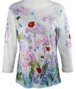 Cactus Fashion Bees & Ladybugs White Top Cotton 3/4 Sleeve Bees & Bugs Design