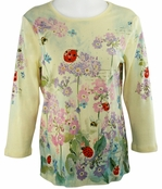 Cactus Fashion Bees & Ladybugs Yellow Top Cotton 3/4 Sleeve Bees & Bugs Design