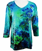 Cactus Fashion - Blue Floral, Scoop Neck Sublimation Print Rhinestone Top