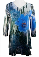 Cactus Fashion - Blue Flower, Floral Print Rhinestone Burnout Tunic Top