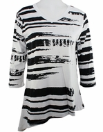 Cactus Fashion - Brushed Stripes, 3/4 Sleeve, Cotton Print Rhinestone Top