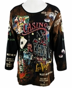 Cactus Fashion - Casino, 3/4 Sleeve, Rhinestone Studded, Artfully Printed Cotton  Black Colored Womens Top