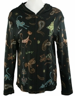 Cactus Fashion - Cat & Paisley, Long Sleeve Cotton Print Rhinestone Hoodie Top