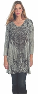 Cactus Fashion - Cathedral Window, Sublimation V-Neck Rhinestone Tunic