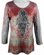 Cactus Fashion - Centered, 3/4 Sleeve Sublimation Burnout Print Rhinestone Top