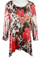 Cactus Fashion - Cherry Blossoms, 3/4 Sleeves, Rhinestone Studded, Artfully Printed, Multi Colored, Asymmetric Hem Womens Microfiber Top